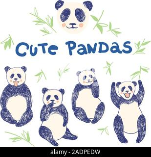 Set of hand drawn cute pandas with bamboo leaves and lettering for children and adults clothes prints screen in 4-5 colours. Print for t-shirt for kids fashion artwork children and adults books. Fashion illustration drawing in modern style. - Stock Photo