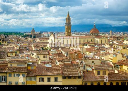 High-angle view of Basilica di Santo Spirito in the Oltrarno quarter, Florence (Firenze), Tuscany, Italy, Europe.