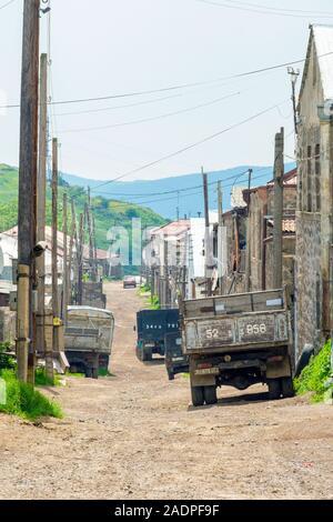 Buildings and dirt road in the village of Shinuhayr, Syunik Province, Armenia