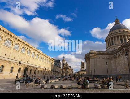 Paris, France - November 7, 2019: Students of The Sorbonne in front of Saint Genevieve library, the Jacques Doucet Literary Library, the Saint-Étienne - Stock Photo