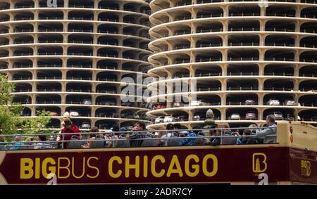 Marina City building complex in Chicago Illinois - Stock Photo