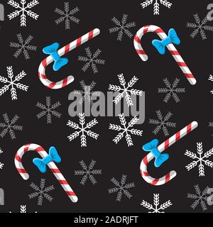 Seamless candy cane and snowflake background on black. Vector image. Backgrounds packaging. - Stock Photo