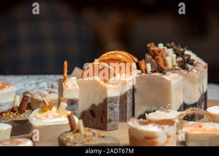 Organic handmade soap with cinamon and orange - Stock Photo