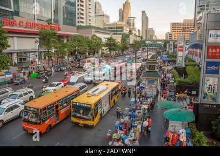 Streetscape with traffic jam in the city centre of Bangkok, Thailand - Stock Photo