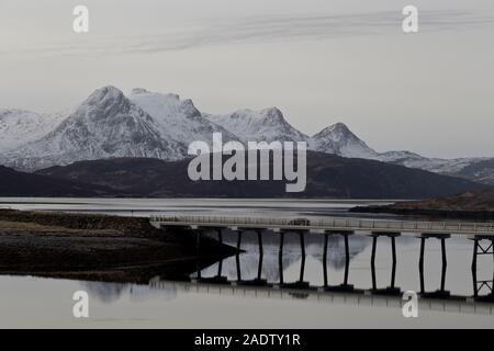 Car on north coast 500 bridge near Tongue, Sutherland - Stock Photo