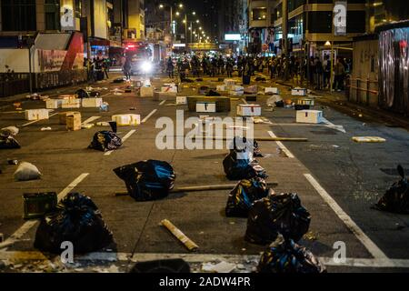 HongKong - December 01, 2019: Riot Police on demonstration during the 2019 protests, a series of demonstrations in Hongkong started as the Anti-Extradition Law Amendment Bill (Anti-ELAB) movement. - Stock Photo