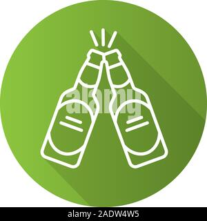 Toasting beer bottles. Flat linear long shadow icon. Pub and bar sign. Vector line symbol - Stock Photo