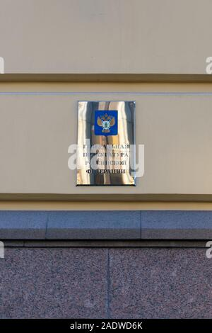 Moscow, Russia - December 01, 2019: Shiny plate with the inscription Prosecutor General of the Russian Federation on the building. The building of the - Stock Photo