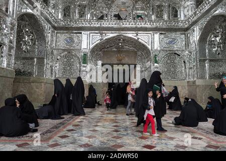Silver muqarnas, Hazrat-e Masumeh, Shrine of Fatima al-masumeh sister of eight Imam Reza and daughter of the seventh Imam Musa al-Kadhim, Qom, Iran - Stock Photo