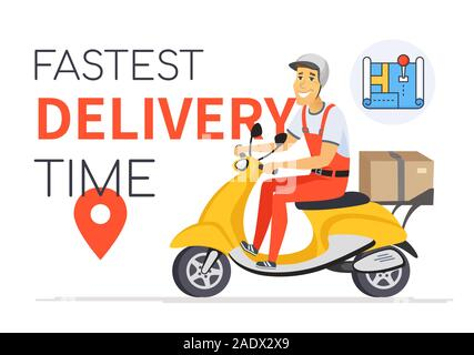 Fastest delivery time - vector cartoon character illustration - Stock Photo