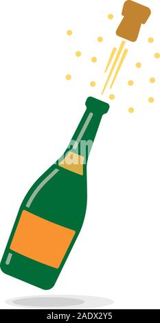popping champagne bottle isolated cartoon vector illustration - Stock Photo