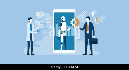 Scientist, AI robot and businessman working together: artificial technology, engineering and business concept - Stock Photo