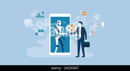Businessman and AI robot shaking hands and cooperating together for a common goal - Stock Photo