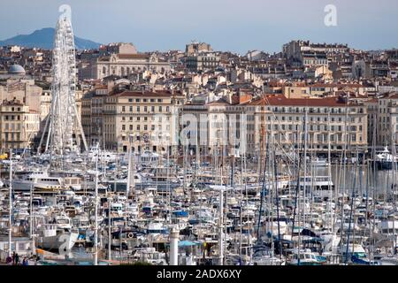 Elevated view of the old port (vieux port) of Marseille, France, Europe