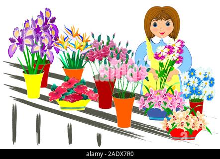 Vector illustration, small business flowers in flat design. friendly salesman. - Stock Photo