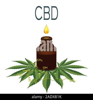 Medicinal cannabis with extract oil in a bottle of Formula. Vector - Stock Photo