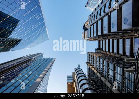 Lloyd's building,  St. Helen's skyscraper, The Willis Building and The Scalpel, Skyscrapers in London, UK - Stock Photo