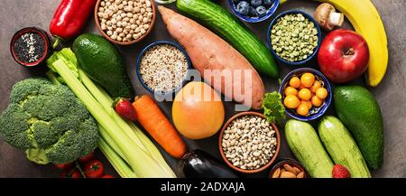 Healthy eating ingredients, banner: vegetables, fruits , legumes,berries, cereals, seeds. Vegan and vegetarian food. The concept of clean eating diet. - Stock Photo