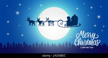 Santa Claus silhouette seen in the moonlight on flying sleigh with deers. Night northern winter forest. Santa delivers Christmas presents. Vector - Stock Photo