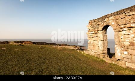 St. Patrick's Chapel, Heysham, UK. The remains of the 11th Century St. Patrick's Chapel overlooking Morecambe Bay in the North West of England. - Stock Photo