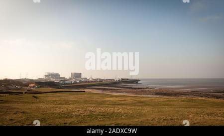 A wide angle view of Heysham 1 and 2 nuclear power stations in the North West of England. - Stock Photo