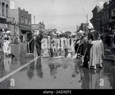 Volksparade Holland Michigan Street Cleaning 1946 - Stock Photo