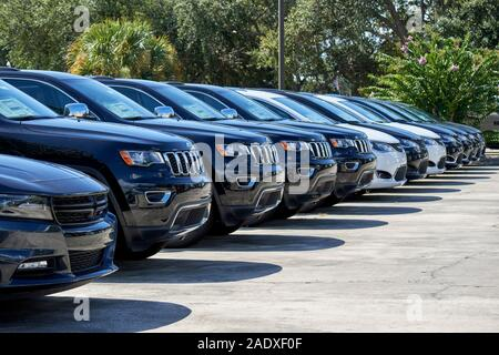 jeep suv and cars new vehicles for sale at a car dealers in florida usa - Stock Photo