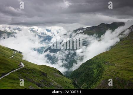Rain clouds over the Franz-Josefs-Straße / Grossglockner High Alpine Road near Heiligenblut am Großglockner, Carinthia, Austria - Stock Photo