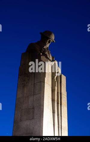 The Canadian Memorial at Vancouver Corner before dawn, St Julien, Ypres Salient, Belgium - Stock Photo