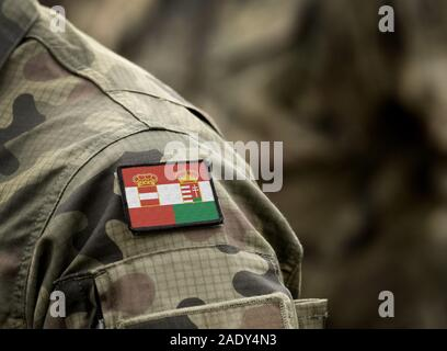Flag of Austria-Hungary or Austro-Hungarian Empire (1867–1918) on military uniform. Army, soldiers. Collage. - Stock Photo