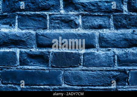 Close up image of old brick wall in blue color. Background. - Stock Photo