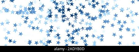Banner with stars confetti toned blue color isolated on white background. - Stock Photo