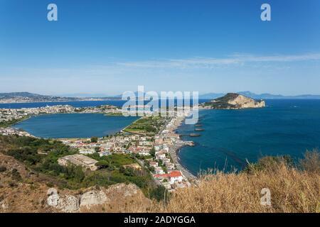 Capo Miseno Promonory with the Lake of Miseno, Gulf of Pozzuoli,  Naples, Campania, Italy, EU - Stock Photo