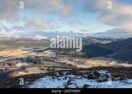 A View of Braemar from Morrone on a Frosty Winter Morning Showing the Village Surrounded by Mountains in the Cairngorms National Park - Stock Photo