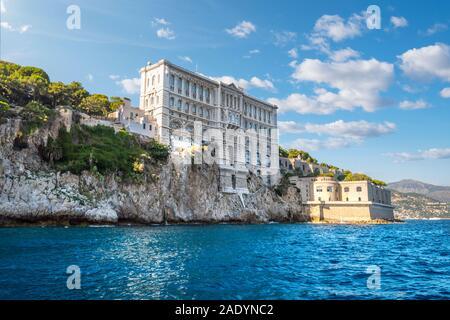 View from the sea of the Monaco Aquarium Oceanographic Museum of marine sciences in Monaco-Ville, Monaco. - Stock Photo