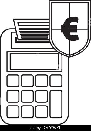 shield with euro symbol and calculator - Stock Photo