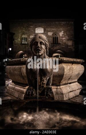 Night image of the fountain detail of Piazza Vecchia, the Sphinx of the Contarini fountain in the center of the square in Bergamo Alta, historic city