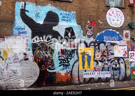 Stencil art in Brick Lane, East London, England, UK, E1 - Stock Photo