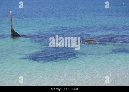 Unrecognizable people snorkelling over a shipwreck in Coogee beach in Fremantle Perth Western Australia - Stock Photo