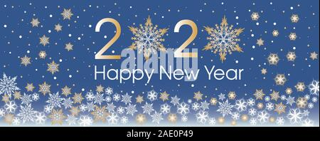 Happy New Year 2020 template with gold and white snowflakes and stars on blue gradient background. Classic blue. Color of 2020 year. - Stock Photo