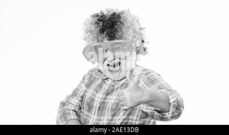 Funny lifestyle. Fun and entertainment. Comic grandfather concept. Nice joke. Grandpa always fun. Man senior bearded cheerful person wear colorful wig and sunglasses. Elderly clown. Having fun. - Stock Photo