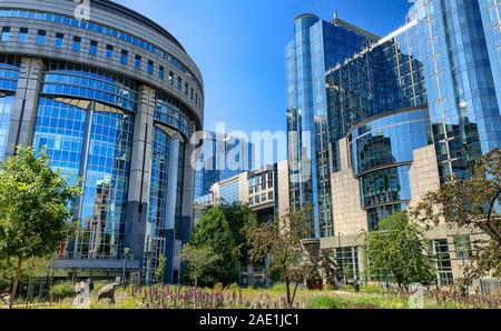 Brussels, Belgium, June, 2019, Modern building of European Parliament and Office buildings in the European district in Belgium, Europe