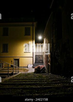 Night scene in Nesso a village on Lake Como - Stock Photo
