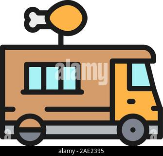 Fried chicken truck, street fast food flat color line icon. - Stock Photo
