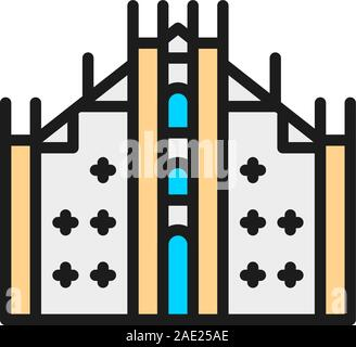Milan Cathedral, landmark of Milan, Italy flat color line icon. - Stock Photo