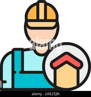 Vector repairman, foreman, builder, architect flat color line icon. - Stock Photo