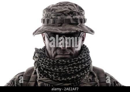 Experienced commando army military soldier studio portrait - Stock Photo