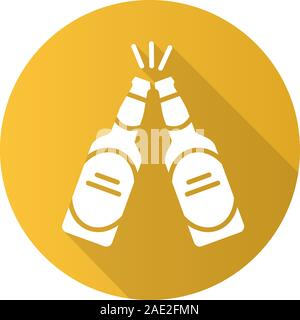 Toasting beer bottles. Flat design long shadow icon. Pub and bar sign. Vector silhouette symbol - Stock Photo