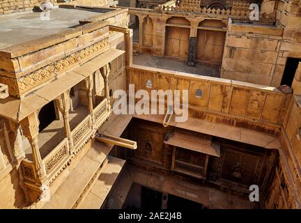 Architecture of old Haveli view from roof top in Jaisalmer, Rajasthan, India - Stock Photo