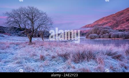 A cold and frosty winter morning with mist drifting on Loch Awe in Scottish Highlands awaiting for the sun to rise Stock Photo